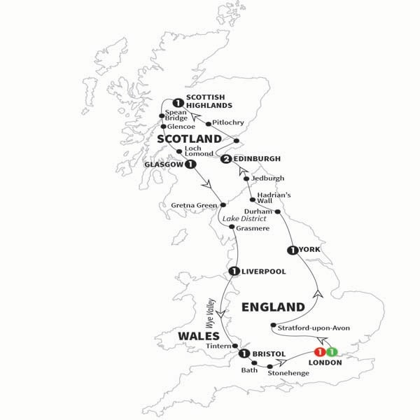 Itinerary map of Amazing Britain Preview 2018
