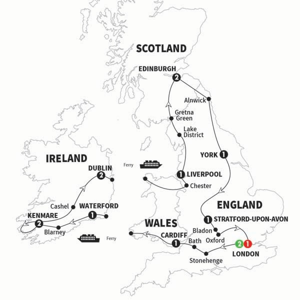 Itinerary map of Wonders of Britain and Ireland Summer 2017