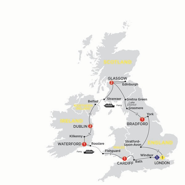 Itinerary map of Britain and Ireland Delight summer 2017