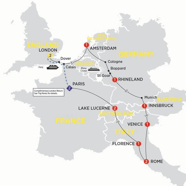 Itinerary map of European Experience summer 2017