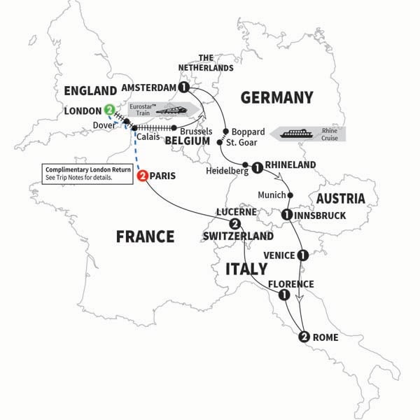 Itinerary map of European Whirl Summer 2017