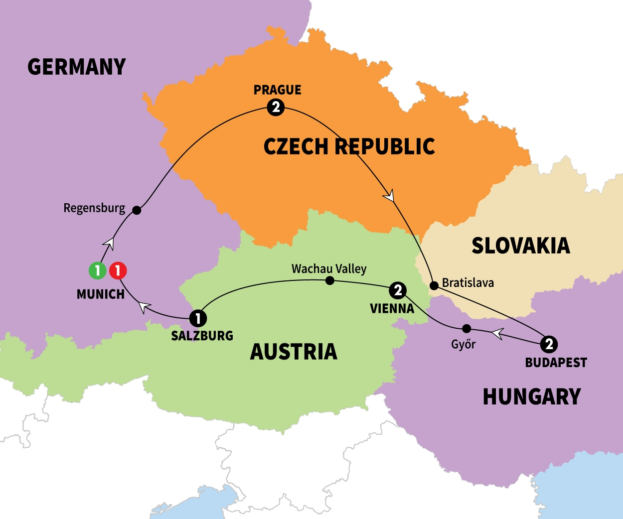 Itinerary map of Imperial Europe Summer 2017