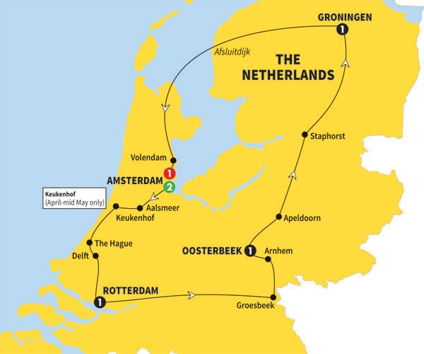 Itinerary map of Best of Holland Summer 2017