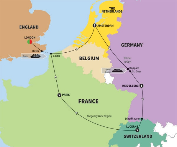 Germany Tours and Escorted Holidays – Map of Germany and England