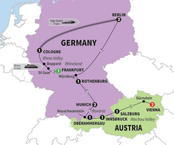 Germany Tours Escorted Vacations – Map of Germany and Holland Together