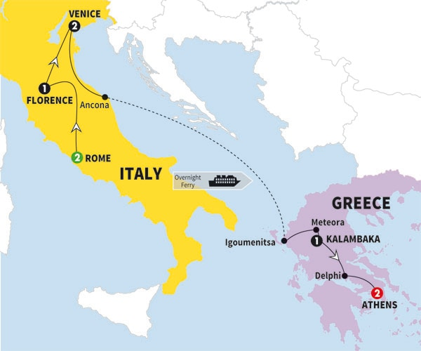 Best of italy and greece with 4day aegean cruise premier summer itinerary map of best of italy and greece with 4day aegean cruise premier summer 2017 gumiabroncs