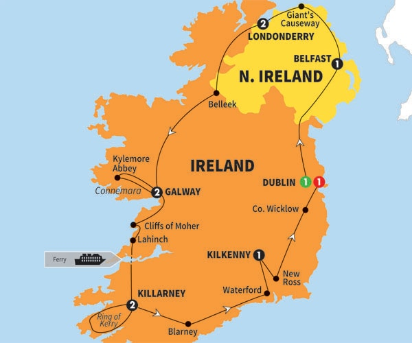 Itinerary map of Irish Experience Preview 2018