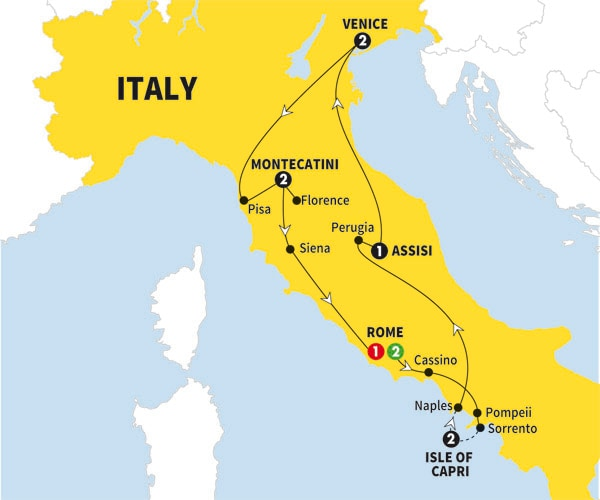 Itinerary map of Italy Bellissimo Summer 2017>
