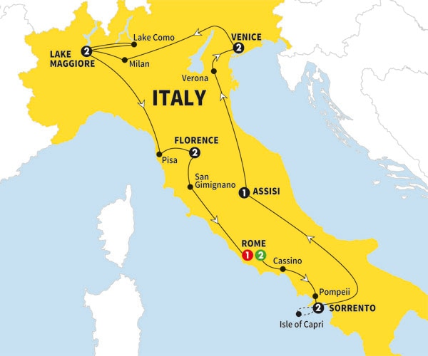 Itinerary map of Best of Italy Summer 2017