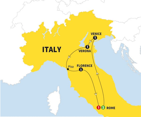 Itinerary map of Italian Holiday Preview 2018