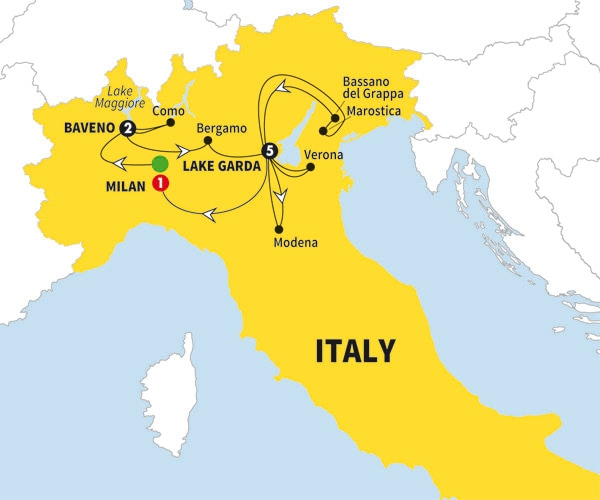 Itinerary map of Best of the Italian Lakes Best of the Italian Lakes 2017>
