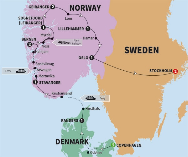 Itinerary map of Scenic Scandinavia and its Fjords Summer 2017