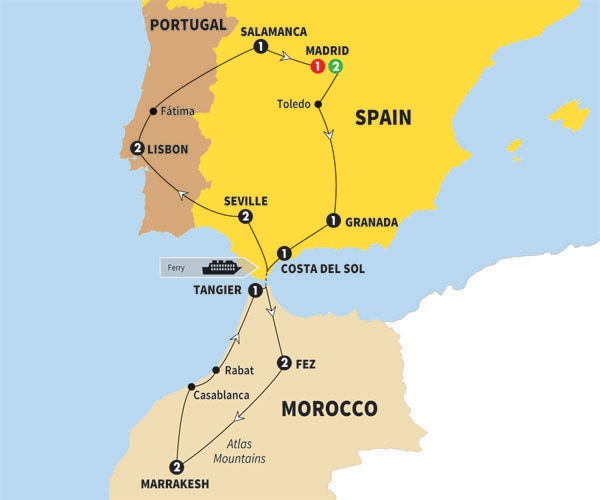 Itinerary map of Spain Morocco and Portugal Preview 2018