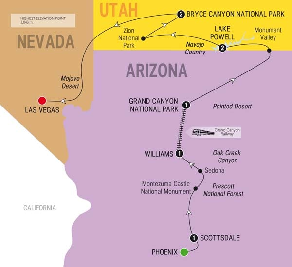 National Parks And Canyon Country Trafalgar US - Map argentina national parks