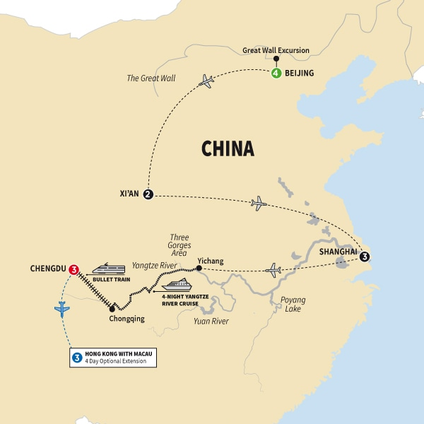 Itinerary map of Classic China with Yangtze Cruise and Chengdu Summer 2018