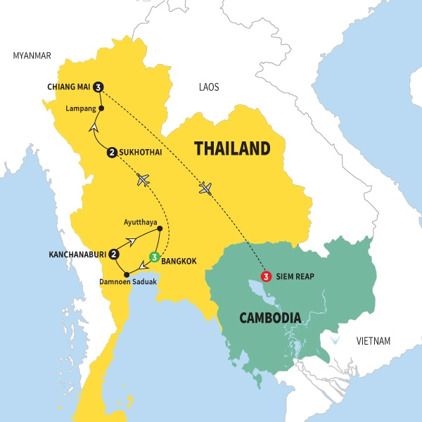 Lampang Thailand Map.Print Trafalgar Treasures Of Thailand With Cambodia Summer 2018 Csoc