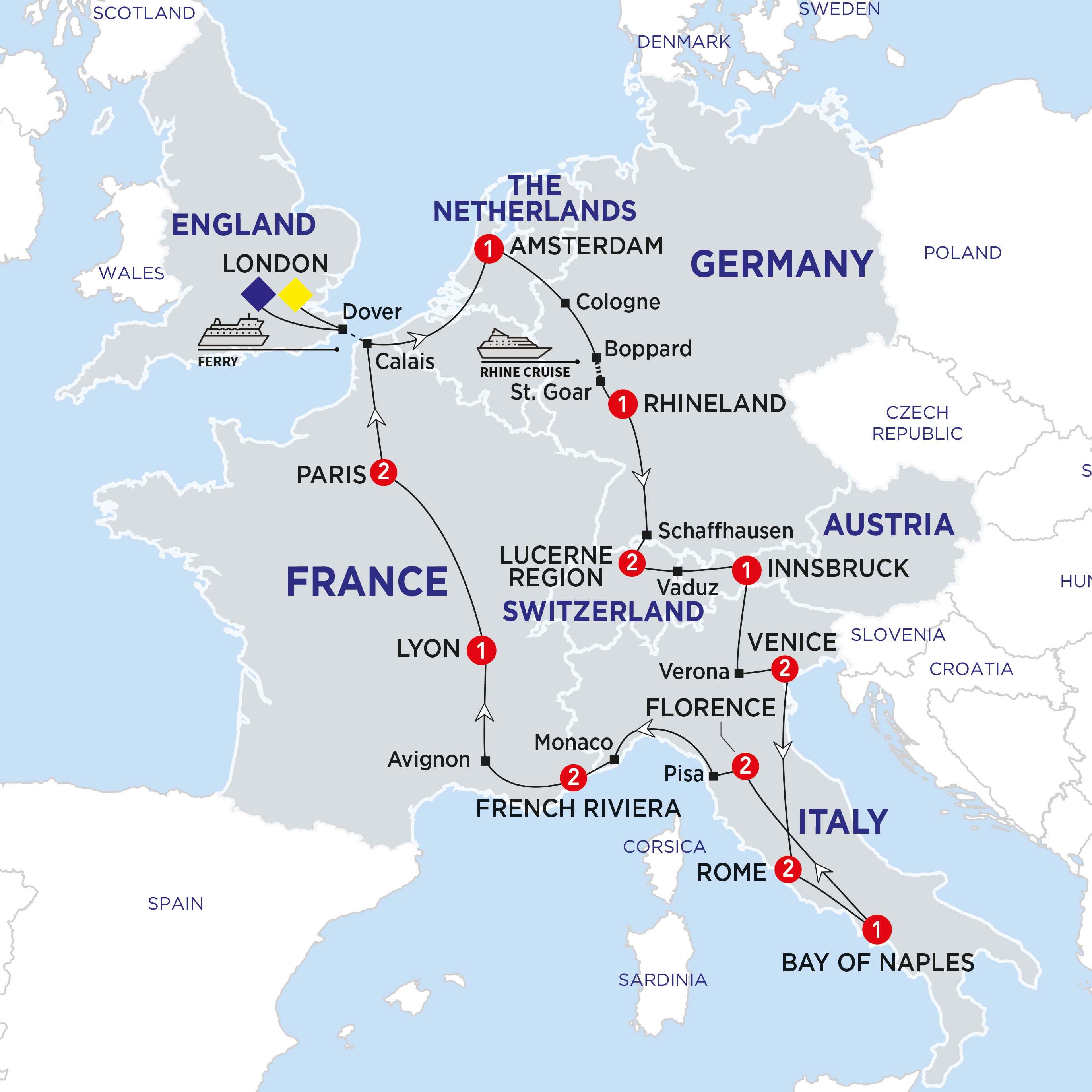 Itinerary map of European Cavalcade Summer 2018