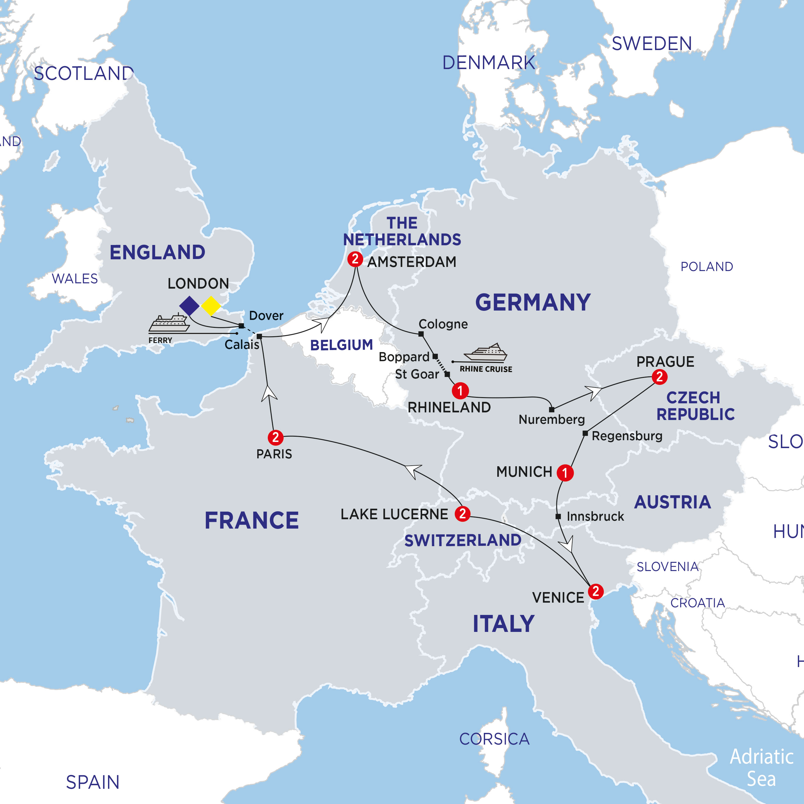 Itinerary map of European Adventures Summer 2018