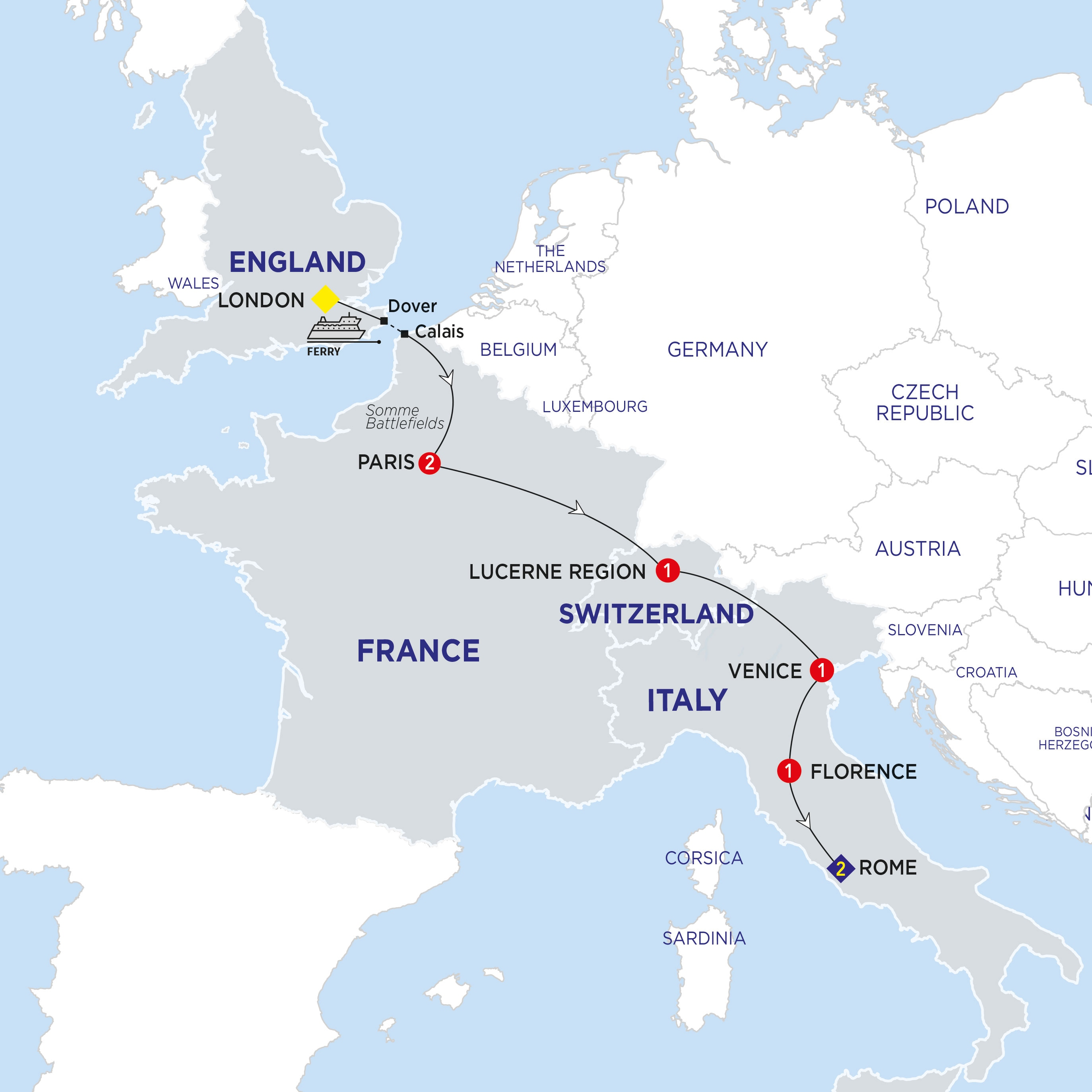 Itinerary map of London to Rome Highlights Summer 2018