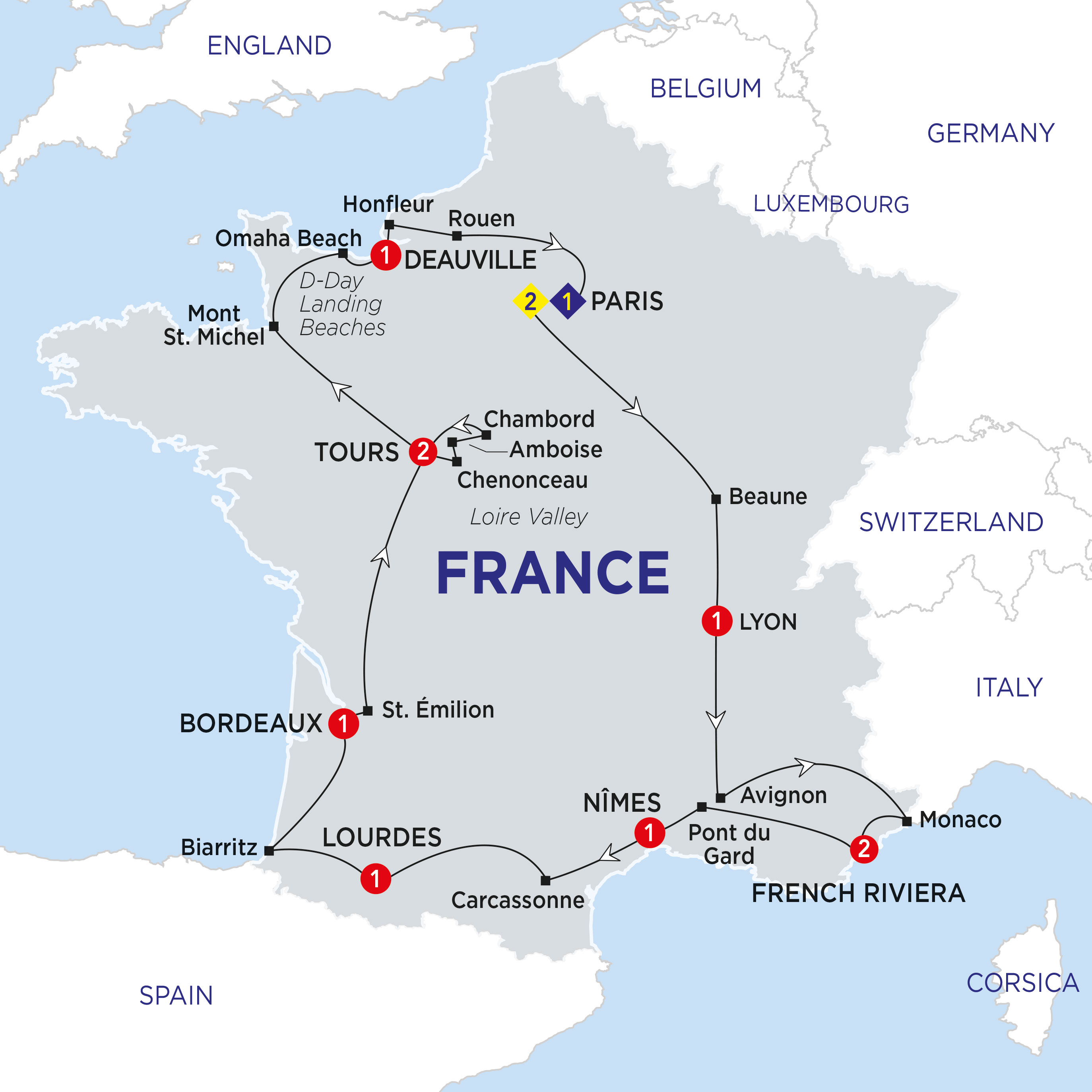 Itinerary map of Highlights of France Summer 2018