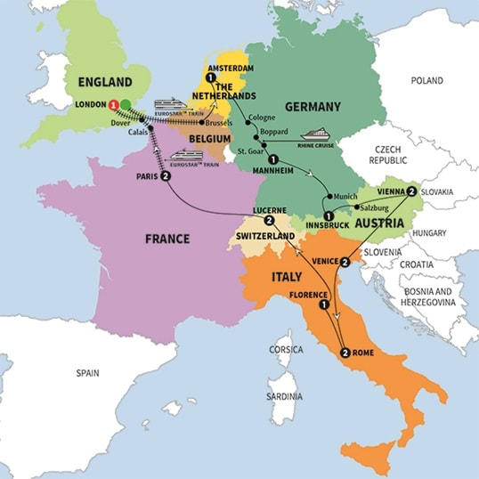 European Discoveries Trafalgar US - Map of germany and france
