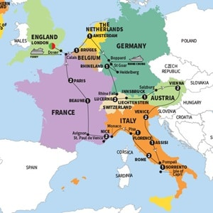 Itinerary map of Grand European Summer 2018
