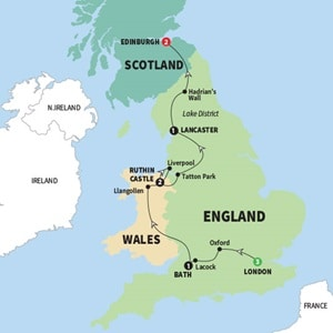 Itinerary map of Castles And Kilts Summer 2018