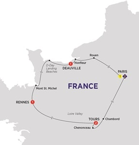 Itinerary map of Jewels of France including Normandy Summer 2018