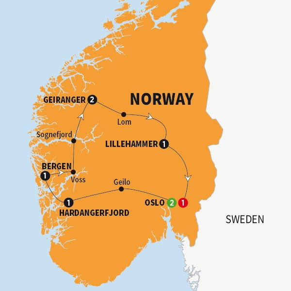 Itinerary map of Best of Norway NEW Best of Norway *NEW* 2018