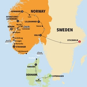 Itinerary map of Scenic Scandinavia and its Fjords Summer 2018