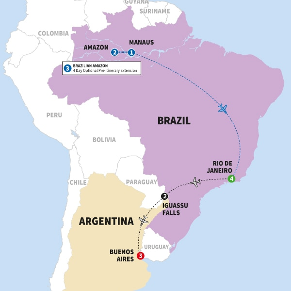Itinerary map of Impressions of South America Summer 2018