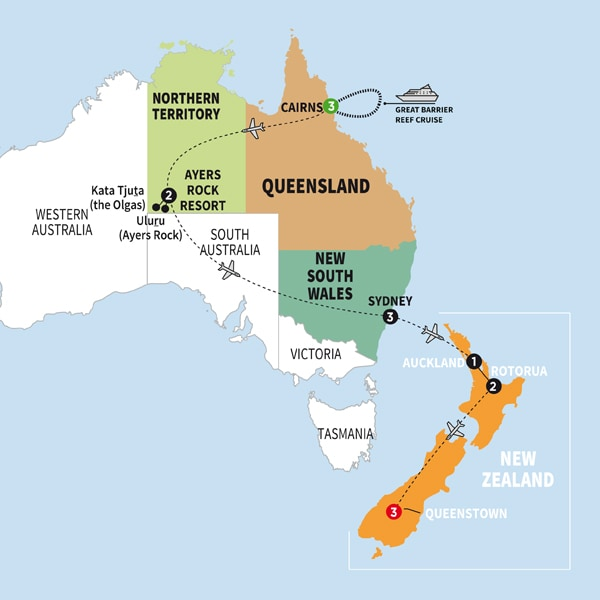 Australia To New Zealand Map.Australia And New Zealand 2018 Trafalgar Can