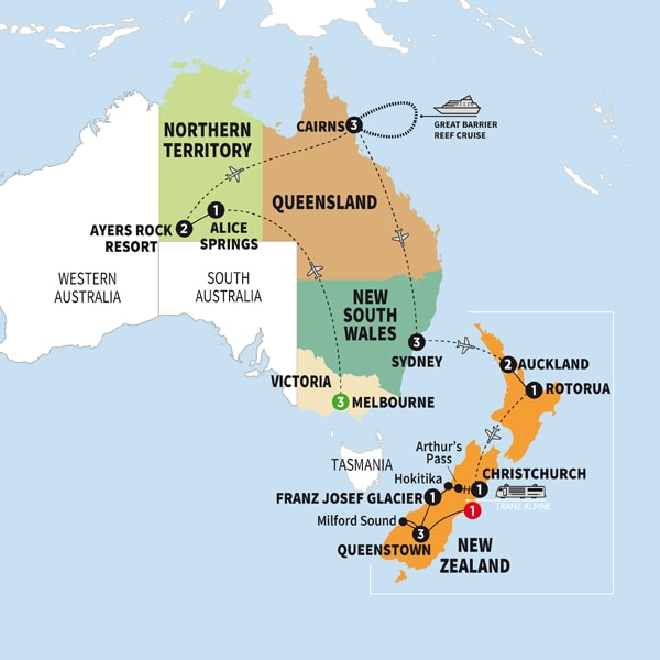 Australia South Pacific Tours Vacations Trafalgar US - Where is new zealand on the map