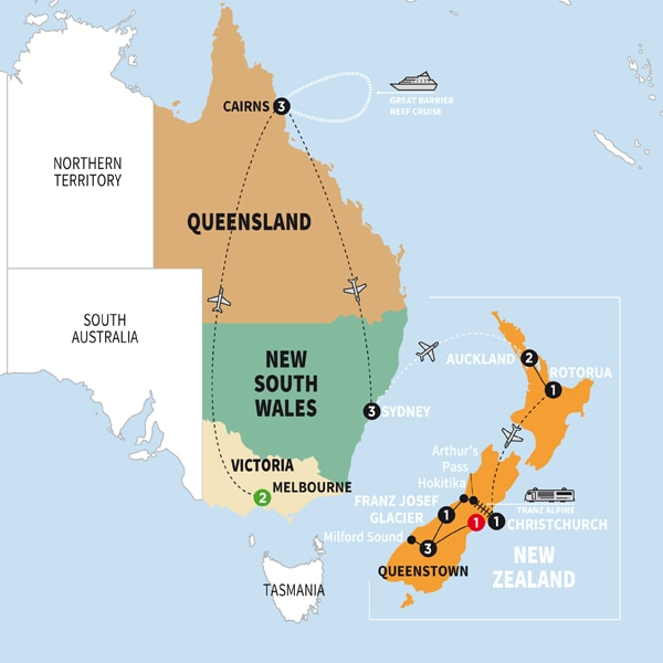 Australia and new zealand 2018 trafalgar usa map qcanawinmapww18 sciox Images