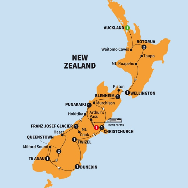New Zealand Sightseeing Map.Print Trafalgar New Zealand Splendour Summer 2018 Zaac