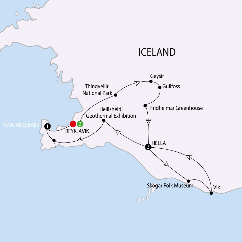 Itinerary map of Northern Lights of Iceland including the Blue Lagoon Northern Lights of Iceland including the Blue Lagoon