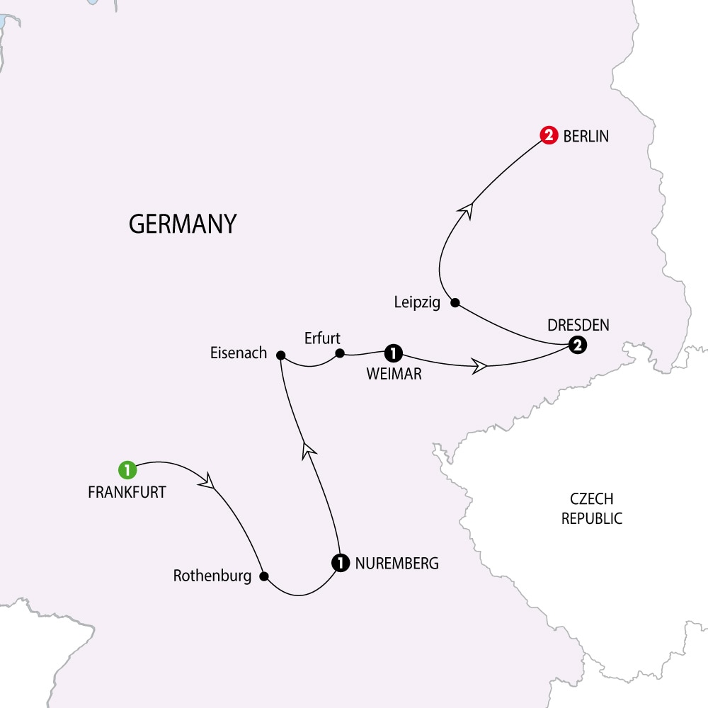 Itinerary map of German Christmas Markets Winter 201819