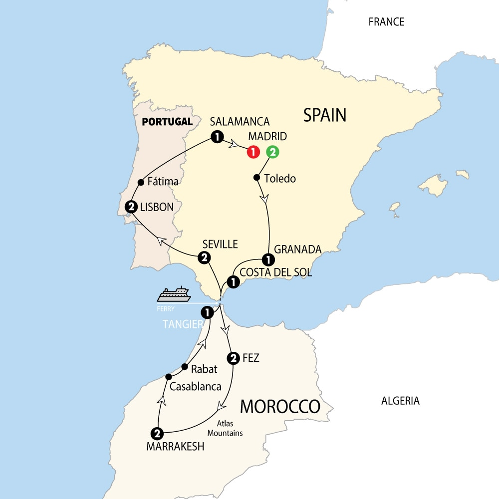 Map Of Spain Morocco And Portugal.Spain Morocco And Portugal Trafalgar