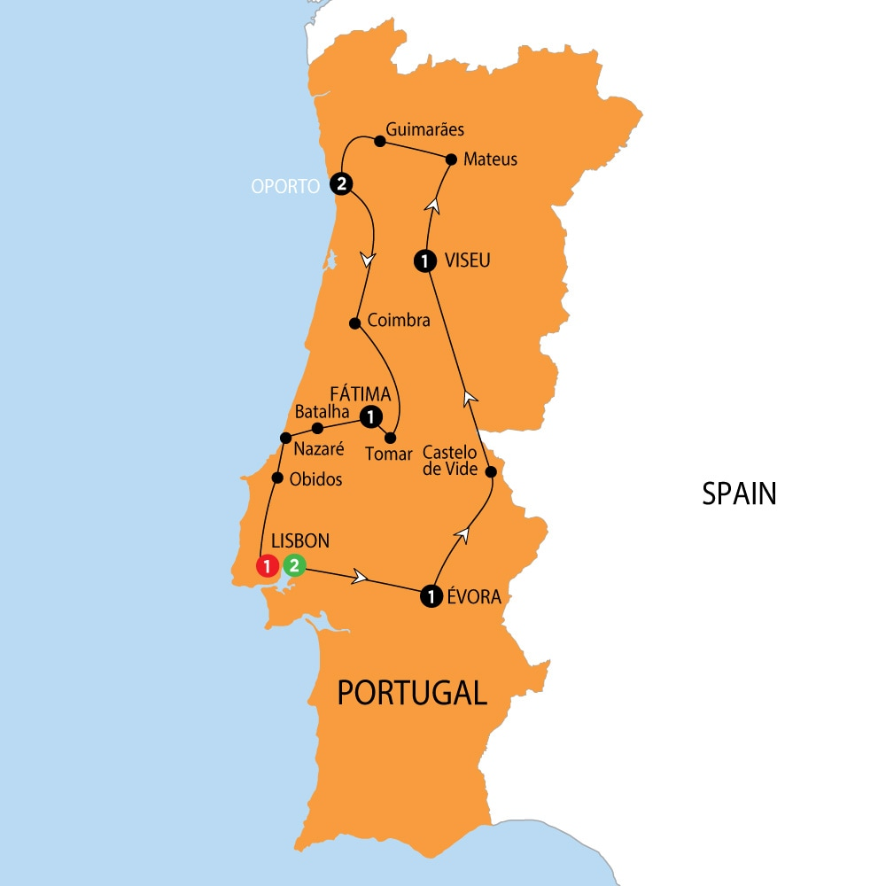 Itinerary map of Wonders of Portugal NEW Wonders of Portugal NEW