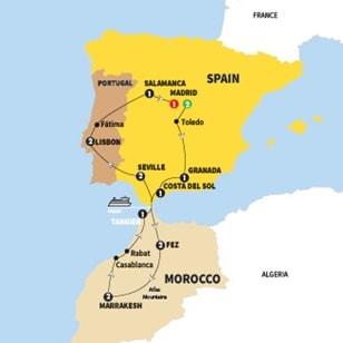 Map Of Spain Morocco And Portugal.Land Tours
