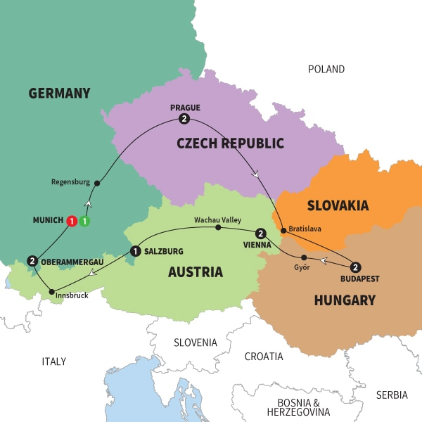 Map Of Imperial Europe with Oberammergau summer 2020