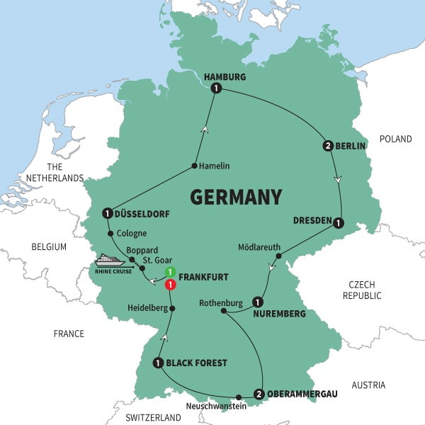 Map Of Best of Germany with Oberammergau Summer 2020