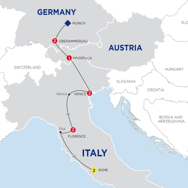 Map Of Jewels of Italy with Oberammergau Summer 2020
